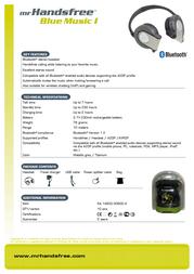 Mr. Handsfree Headset Blue Music bluetooth 7826 Leaflet