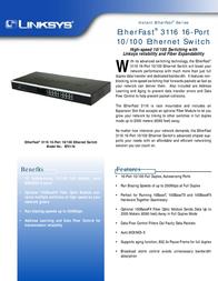 Linksys EtherFast® 3116 16-Port 10/100 Ethernet Switch EF3116-UK Leaflet