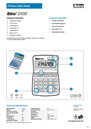 GBC Calculator 210X IB410154 Product Datasheet
