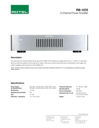 Rotel RB-1572 V2 RB-1572-V2 Leaflet