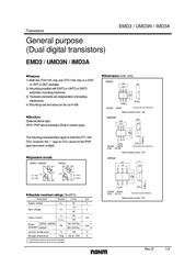 Rohm Semiconductor IMD3AT108 Bipolar Transistor Emitter reverse voltage U(CEO) 50 V IMD3AT108 Data Sheet