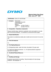 DYMO 9mm RHINO Coloured Vinyl S0718580 Data Sheet