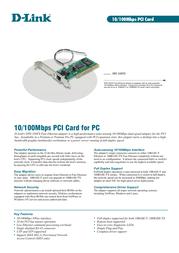 D-Link Nway 32 Bit PCI Bus Master Adapter DFE-530TX Leaflet