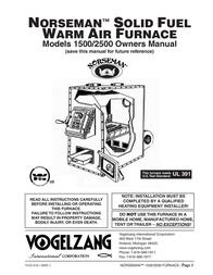 Vogelzang International NORSEMANTM SOlid FuEl WARM AiR FuRNAcE 2500 ユーザーズマニュアル