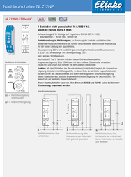 Eltako Off delay timer 16 A 1 maker 250 Vac 23100704-1 23100704-1 Data Sheet