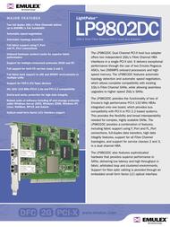 Emulex Dual Channel 2Gb/s Dual Fibre Channel PCI-X HBA LP9802DC-F2 LP9802DC-F2 Leaflet