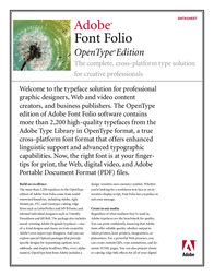 Adobe Font Folio™ OpenType® edition 47060033 Data Sheet