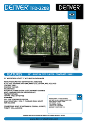 "Denver TFD-2208 22"" LCD/TFT TV with DVD PLayer TFD-2208 Leaflet"