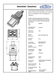 Kalthoff Hot wire connector C22 Plug, straight Total number of pins: 2 + PE 16 A Black 1 pc(s) 444009 Data Sheet