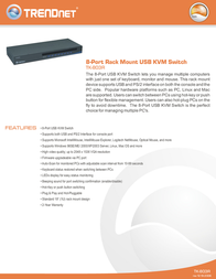Trendnet TK-803R 8-Port USB/PS/2 Rack Mount KVM Switch TK-803R Leaflet