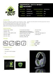 KeepOut HX9 HX9 HEADSET Product Datasheet