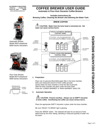 BLOOMFIELD Automatic Brewer, Pour-Over Brewer, 8573 w/optional 8900-Series Decanters User Manual
