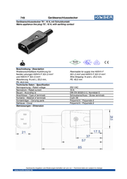 Kaiser IEC connector C14 Plug, straight Total number of pins: 2 + PE 10 A Grey 1 pc(s) 249/sw Data Sheet
