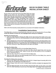 Grizzly G6103 Leaflet