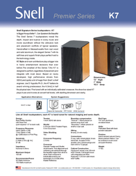 Snell Acoustics K7 Leaflet