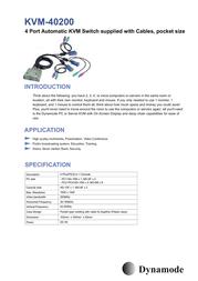 Dynamode 4-Port Pocket KVM with Cables KVM-40200 Merkblatt