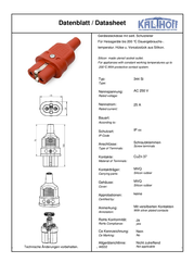 Kalthoff Hot wire connector Socket, straight Total number of pins: 2 + PE 16 A Red 1 pc(s) 344005 Data Sheet