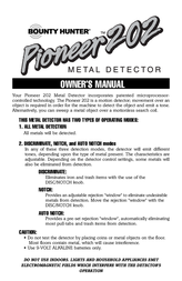 Bounty Hunter PIONEER 202 User Manual