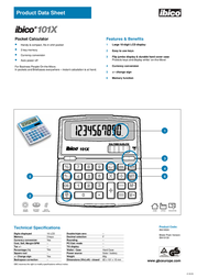 GBC Calculator 101X IB410130 Product Datasheet