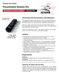 Keyspan Presentation Remote Pro PR-PRO3 Leaflet
