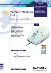 Dacomex Wired Mouse, PS/2 571840 Leaflet