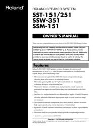 Roland SST-151/251 User Manual