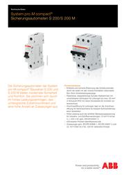 ABB Circuit breaker B 16A 2CDS251001R1165 Data Sheet