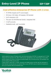 Yealink SIP-T20P 8061102 Leaflet