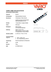 Ehmann Socket strip (+ switch) 5 x Grey-black PG connector 0201x01054301 0201x01054301 Data Sheet