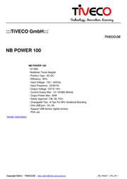 Tiveco NB Power 100 TM-NB100W Leaflet
