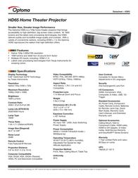 Optoma HD65 Leaflet