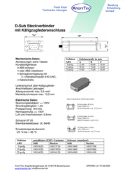 Knorr Tec D-SUB plug 180 ° Number of pins: 9 Pull spring 10015620 1 pc(s) 10015620 Data Sheet
