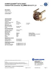 Huber + Suhner MMBX connector Plug, vertical mount 50 Ω Huber & Suhner 82MMBX-50-0-2/111NE 1 pc(s) 23001788 Data Sheet