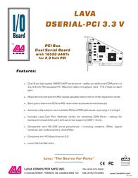 Lava DSerial-PCI 3.3V DSERIAL-PCI 3.3V Leaflet