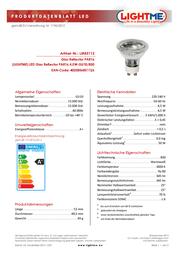 LIGHTME LED (monochrome) 52 mm 230 V GU10 5 W = 50 W Warm white ATT.CALC.EEK: A+ Reflector bulb Content 1 pc(s) LM85112 Data Sheet