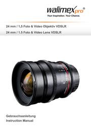 Walimex Pro 24/1,5 lens VDSLR voor Canon 18805 Data Sheet