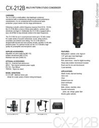 Audix CX212B AUDIX CX212 B Leaflet