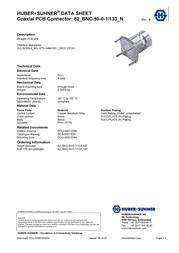 Huber + Suhner BNC connector Socket, vertical vertical 50 Ω Huber & Suhner 82-BNC-50-0-1/133_NH 1 pc(s) 22543974 Data Sheet
