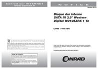 """Wd Hard disk WD10EZRX 1 TB 3.5 """" 5400 rpm 64 MB WD10EZRX User Manual"""