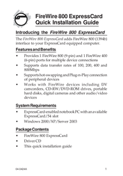 Sigma FireWire 800 ExpressCard NN-EC2812-S1 User Manual