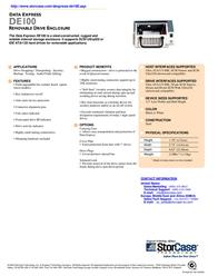 "StorCase DE100 5.25"" 68-Pin SCSI Ultra320 HH Receiving Frame, Repeater S20A151 User Manual"
