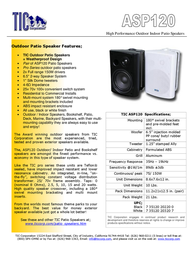 TIC Corporation ASP120 ASP-120W Leaflet