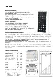 """Sunset Monocrystalline solar panel 80 Wp 16.8 V Solarmodul """"AS80"""" 110119 Leaflet"""