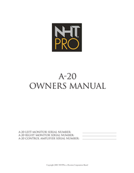 NHT Studio Monitor A-20 User Manual