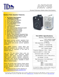 TIC Corporation ASP25 ASP-25W Leaflet
