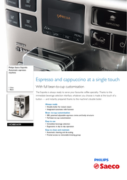 Saeco Super-automatic espresso machine HD8854/09 HD8854/09 User Manual
