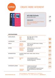 CMX MP3 886 4GB MP38864GB Fascicule