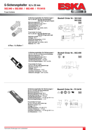 Eska Fuse holder Suitable for Micro fuse 6.3 x 32 mm 15 A 250 Vac 602.400 1 pc(s) 602.400 Data Sheet