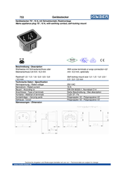 Kaiser IEC connector C14 Plug, vertical mount Total number of pins: 2 + PE 10 A Black 1 pc(s) 753/sw Data Sheet