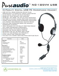 Andrea Electronics NC-185 VM USB P-C1-1022600-50 Leaflet